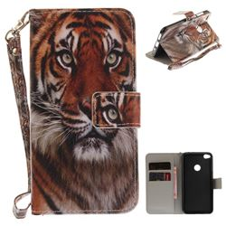 Siberian Tiger Hand Strap Leather Wallet Case for Huawei P8 Lite 2017 / P9 Honor 8 Nova Lite
