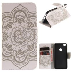 White Flowers PU Leather Wallet Case for Huawei P8 Lite 2017 / P9 Honor 8 Nova Lite