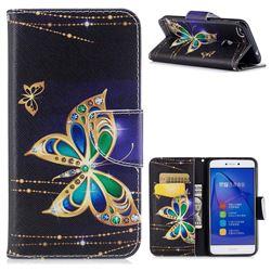 Golden Shining Butterfly Leather Wallet Case for Huawei P8 Lite 2017 / P9 Honor 8 Nova Lite