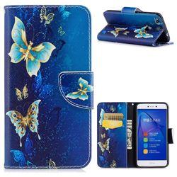 Golden Butterflies Leather Wallet Case for Huawei P8 Lite 2017 / P9 Honor 8 Nova Lite