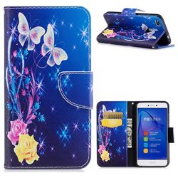 Yellow Flower Butterfly Leather Wallet Case for Huawei P8 Lite 2017 / P9 Honor 8 Nova Lite