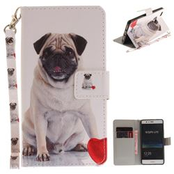 Pug Dog Hand Strap Leather Wallet Case for Huawei P9 Lite G9 Lite