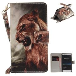 Majestic Lion Hand Strap Leather Wallet Case for Huawei P9 Lite G9 Lite