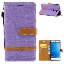 Jeans Cowboy Denim Leather Wallet Case for Huawei P9 Lite G9 Lite - Purple