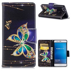 Golden Shining Butterfly Leather Wallet Case for Huawei P9 Lite G9 Lite