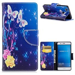 Yellow Flower Butterfly Leather Wallet Case for Huawei P9 Lite G9 Lite