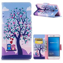 Tree and Owls Leather Wallet Case for Huawei P9 Lite G9 Lite