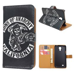 Black Skull Leather Wallet Case for Samsung Galaxy S4 mini i9190 I9192 I9195