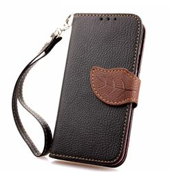 Leaf Buckle Litchi Leather Wallet Phone Case for Samsung Galaxy S4 Mini - Black