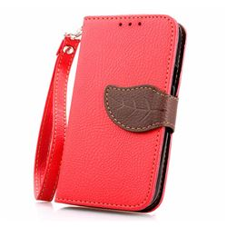 Leaf Buckle Litchi Leather Wallet Phone Case for Samsung Galaxy S4 Mini - Red