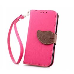 Leaf Buckle Litchi Leather Wallet Phone Case for Samsung Galaxy S4 Mini - Rose