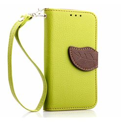 Leaf Buckle Litchi Leather Wallet Phone Case for Samsung Galaxy S4 Mini - Green