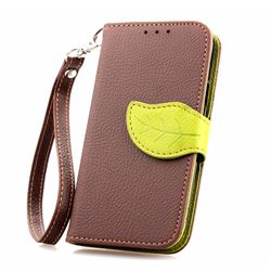 Leaf Buckle Litchi Leather Wallet Phone Case for Samsung Galaxy S4 Mini - Brown