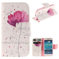Purple Orchid PU Leather Wallet Case for Samsung Galaxy S4 Mini i9190