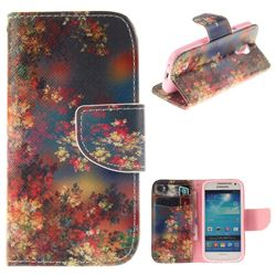 Colored Flowers PU Leather Wallet Case for Samsung Galaxy S4 Mini i9190