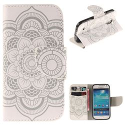 White Flowers PU Leather Wallet Case for Samsung Galaxy S4 Mini i9190