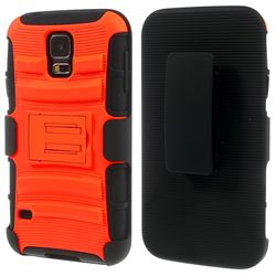 3 In 1 PC + Silicon Holster Case for Samsung Galaxy S5 with Belt Clip - Orange