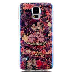Floral Blue Ray Light TPU Case for Samsung Galaxy S5