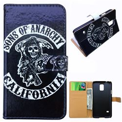Black Skull Leather Wallet Case for Samsung Galaxy S5 G900