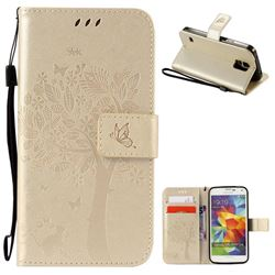 Embossing Butterfly Tree Leather Wallet Case for Samsung Galaxy S5 - Champagne