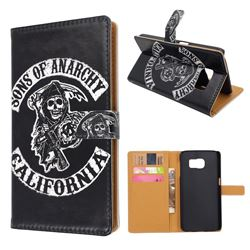 Black Skull Leather Wallet Case for Samsung Galaxy S6 G920 G9200