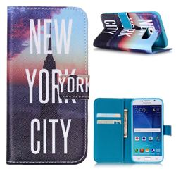New York City Leather Wallet Case for Samsung Galaxy S6 G920 G9200