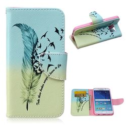 Feather Bird Leather Wallet Case for Samsung Galaxy S6 G920 G9200
