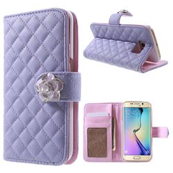 Diamond Flower Rhombus Leather Wallet Case for Samsung Galaxy S6 Edge G925 - Purple