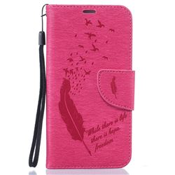 Intricate Embossing Feather Bird Leather Wallet Case for Samsung Galaxy S6 Edge - Rose