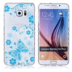 Blue Butterfly Painted Non-slip TPU Back Cover for Samsung Galaxy S6 Edge Plus