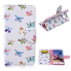 Colored Butterflies Leather Wallet Case for Samsung Galaxy S6 Edge Plus G928 G928P G928A