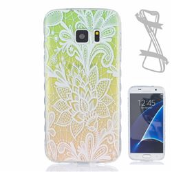 Gradient Rose Painted Non-slip TPU Back Cover for Samsung Galaxy S7