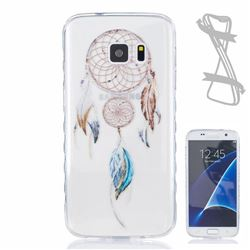Feather Wind Chimes Painted Non-slip TPU Back Cover for Samsung Galaxy S7