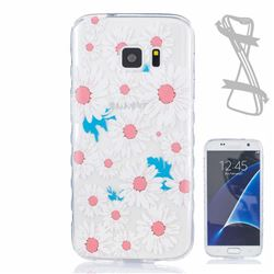 Chrysanthemum Painted Non-slip TPU Back Cover for Samsung Galaxy S7