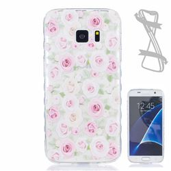 Flower Roses Painted Non-slip TPU Back Cover for Samsung Galaxy S7