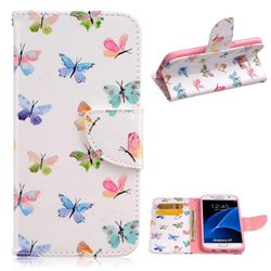 Colored Butterflies Leather Wallet Case for Samsung Galaxy S7 G930