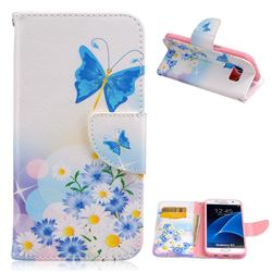 Butterflies Flowers Leather Wallet Case for Samsung Galaxy S7 G930