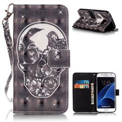 Flower Skull 3D Painted Leather Wallet Case for Samsung Galaxy S7