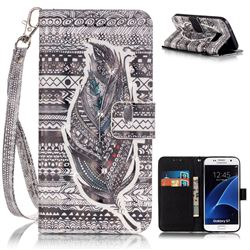 Tribe Feather 3D Painted Leather Wallet Case for Samsung Galaxy S7