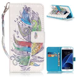 Colorful Feathers 3D Painted Leather Wallet Case for Samsung Galaxy S7