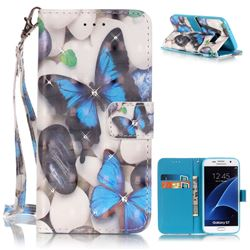 Blue Butterflies 3D Painted Leather Wallet Case for Samsung Galaxy S7