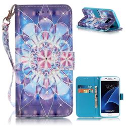 Crystal Flower 3D Painted Leather Wallet Case for Samsung Galaxy S7