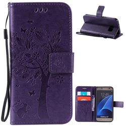 Embossing Butterfly Tree Leather Wallet Case for Samsung Galaxy S7 - Purple