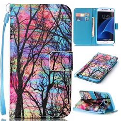 Color Tree Leather Wallet Phone Case for Samsung Galaxy S7