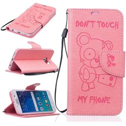 Intricate Embossing Chainsaw Bear Leather Wallet Case for Samsung Galaxy S7 - Pink