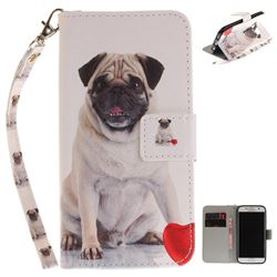 Pug Dog Hand Strap Leather Wallet Case for Samsung Galaxy S7 G930