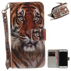 Siberian Tiger Hand Strap Leather Wallet Case for Samsung Galaxy S7 G930