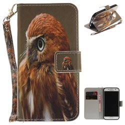 Young Eagle Hand Strap Leather Wallet Case for Samsung Galaxy S7 G930