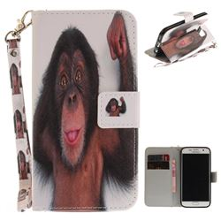 Cute Monkey Hand Strap Leather Wallet Case for Samsung Galaxy S7 G930