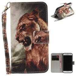 Majestic Lion Hand Strap Leather Wallet Case for Samsung Galaxy S7 G930
